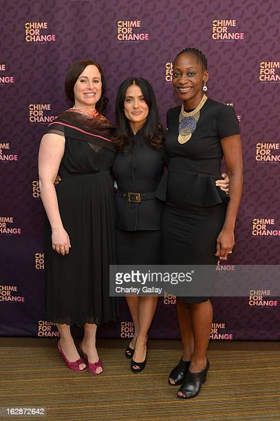 Filmmaker and author Joanna Lipper Salma Hayek Pinault PPR Corporate Foundation for Women's Dignity and Rights and Hafsat Abiola attend Chime for...