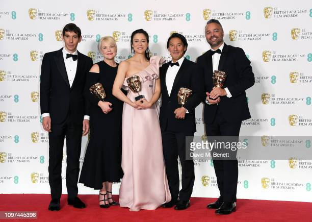 US filmmaker and codirector Elizabeth Chai Vasarhelyi US codirector and producer Jimmy Chin and producers Shannon Dill and Evan Hayes pose with their...