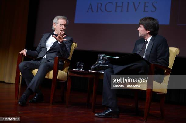 Filmmaker and honoree Steven Spielberg and Foundation for the National Archives Board Vice President and Gala Chair Ken Burns speak onstage at the...