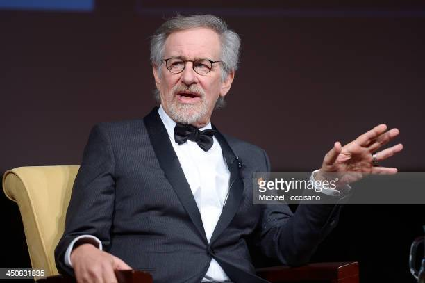 Filmmaker and honoree Steven Spielberg speaks onstage at the Foundation for the National Archives 2013 Records of Achievement award ceremony and gala...
