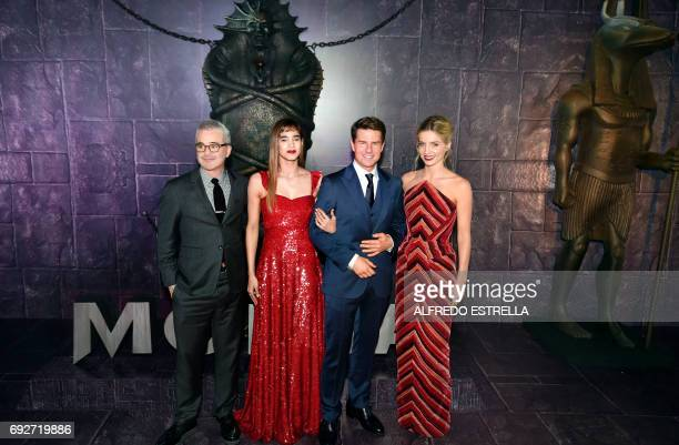 US filmmaker and producer Alex Kurtzman FrenchAlgerian actress Sofia Boutella US actor Tom Cruise and British actress Annabelle Wallis pose for the...