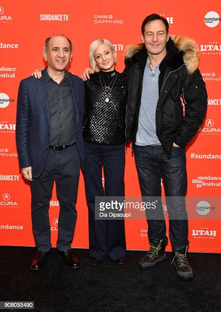 Filmmaker Armando Iannucci actor Andrea Riseborough and Jason Isaacs attend the 'The Death Of Stalin' Premiere during the 2018 Sundance Film Festival...
