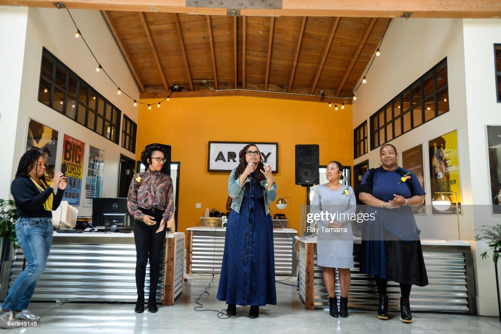 Filmmaker Ava DuVernay (C) speaks to attendees at the ARRAY Open House at the ARRAY Headquarters on April 17, 2018 in Los Angeles, California.
