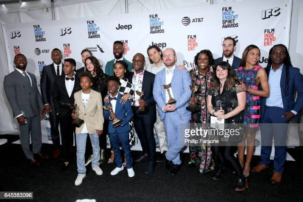 Filmmaker Barry Jenkins and cast and crew of 'Moonlight' winner of the Best Feature award pose in the press room during the 2017 Film Independent...