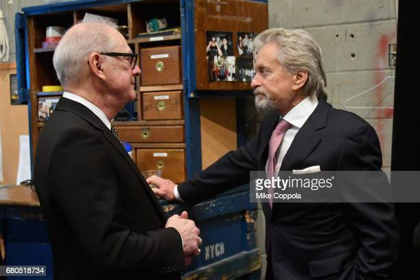 Filmmaker Barry Levinson and actor Michael Douglas backstage during the 44th Chaplin Award Gala at David H Koch Theater at Lincoln Center on May 8...