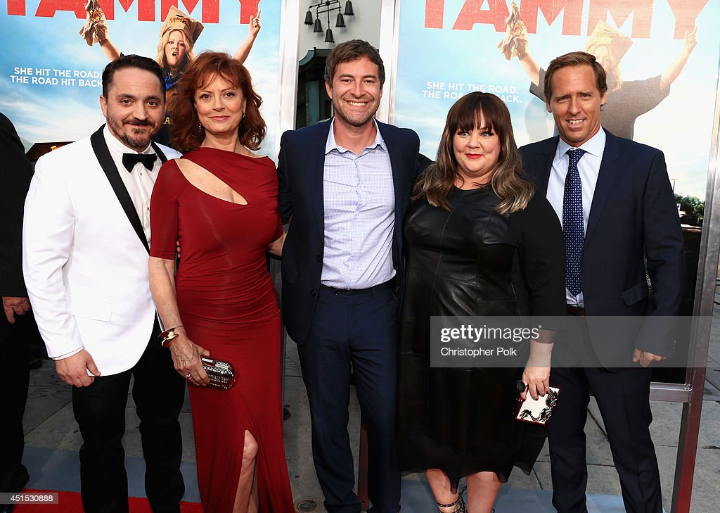 Filmmaker Ben Falcone, actress Susan Sarandon, actor Mark Duplass, filmmaker Melissa McCarthy and actor Nat Faxon attend the 'Tammy' Los Angeles premiere at TCL Chinese Theatre on June 30, 2014 in Hollywood, California.