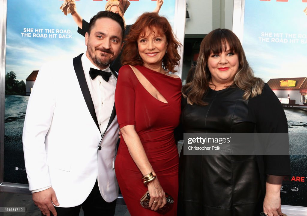 Filmmaker Ben Falcone, actress Susan Sarandon and filmmaker Melissa McCarthy attend the 'Tammy' Los Angeles premiere at TCL Chinese Theatre on June 30, 2014 in Hollywood, California.