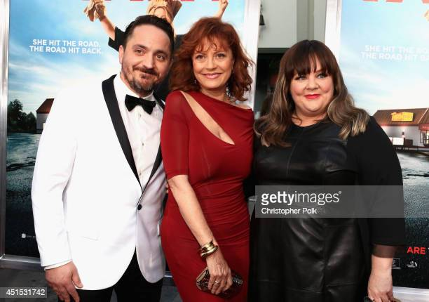 Filmmaker Ben Falcone actress Susan Sarandon and filmmaker Melissa McCarthy attend the Tammy Los Angeles premiere at TCL Chinese Theatre on June 30...