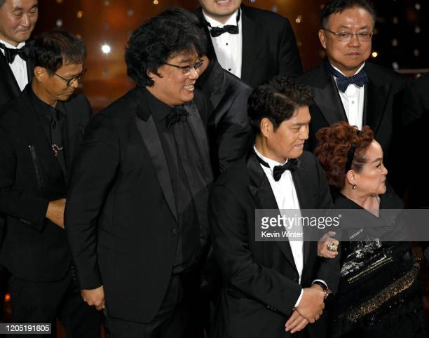 Filmmaker Bong Joonho producer Min Heoi Heo and producer Miky Lee onstage during the 92nd Annual Academy Awards at Dolby Theatre on February 09 2020...