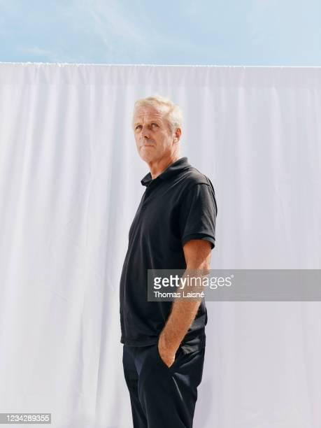 Filmmaker Bruno Dumont poses for a portrait on July 15, 2021 in Cannes, France.