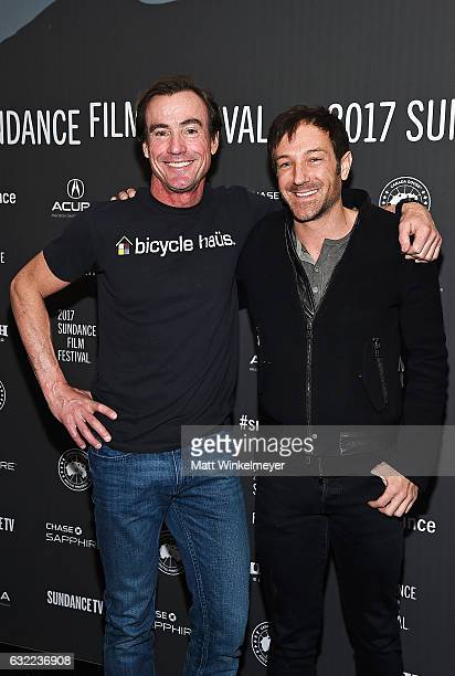 Filmmaker Bryan Fogel and a guest attend the Icarus premiere during day 2 of the 2017 Sundance Film Festival at The Marc Theatre on January 20 2017...