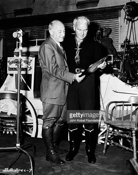 Filmmaker Cecil B DeMille on a film set circa 1935