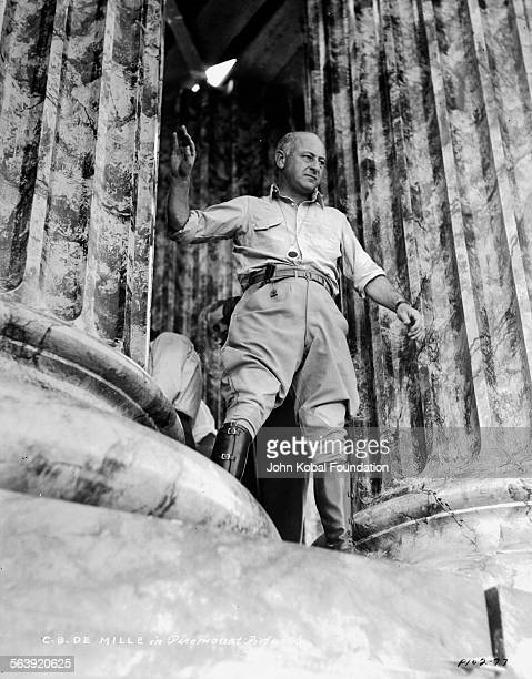 Filmmaker Cecil B DeMille on the set of the film 'Samson and Delilah', for Paramount Pictures, 1949.