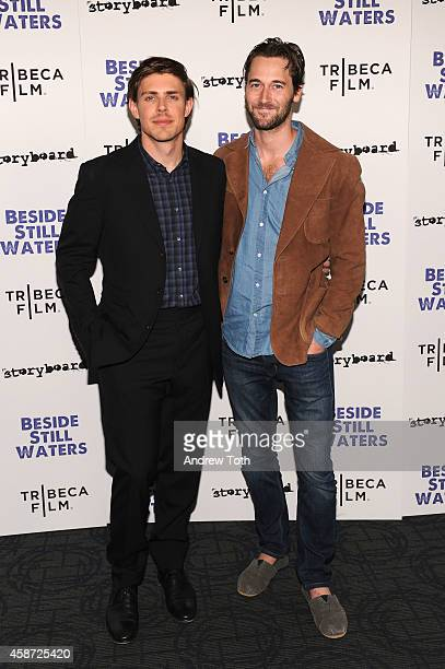 "Filmmaker Chris Lowell and actor Ryan Eggold attend the ""Besides Still Waters"" New York premiere at Sunshine Landmark on November 9, 2014 in New York..."