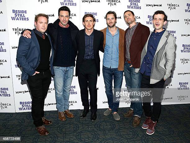 Filmmaker Chris Lowell and actors Beck Bennett Reid Scott Ryan Eggold Brett Dalton and Will Brill attend 'Besides Still Waters' New York Premiere at...