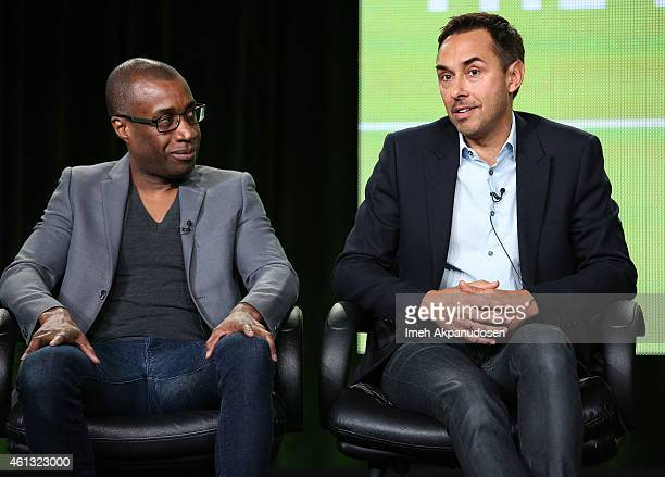 Filmmaker Clement Virgo and actor Damon D'Oliveira speak onstage during the Viacom Winter Television Critics Association press tour at The Langham...