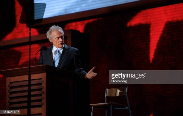 Filmmaker Clint Eastwood gestures while speaking at the Republican National Convention in Tampa Florida US on Thursday Aug 30 2012 Republican...