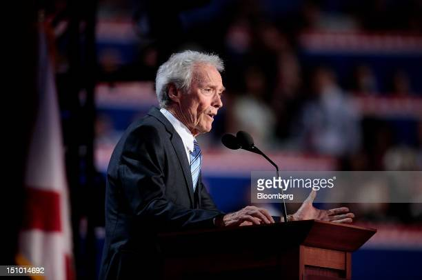 Filmmaker Clint Eastwood speaks at the Republican National Convention in Tampa Florida US on Thursday Aug 30 2012 Republican presidential nominee...
