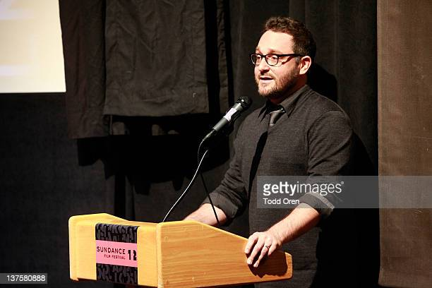 Filmmaker Colin Trevorrow speaks onstage during the Safety Not Guaranteed premiere during the 2012 Sundance Film Festival held at Prospector Square...