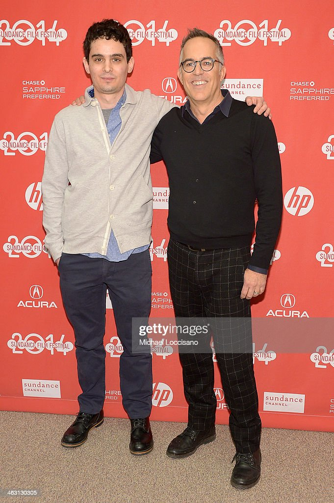 Filmmaker Damien Chazelle (L) and Sundance Film Festival Director John Cooper attend the premiere of 'Whiplash' at the Eccles Center Theatre during the 2014 Sundance Film Festival on January 16, 2014 in Park City, Utah.