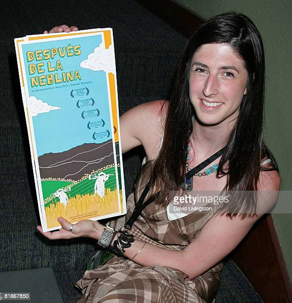 Filmmaker Danielle Bernstein displays poster art for her documentary at the 2008 Los Angeles Film Festival's 'When Clouds Clear' screening on June 22...