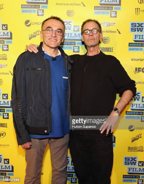 Filmmaker Danny Boyle and journalist David Carr pose in the greenroom at A Conversation With Danny Boyle during the 2013 SXSW Music Film Interactive...
