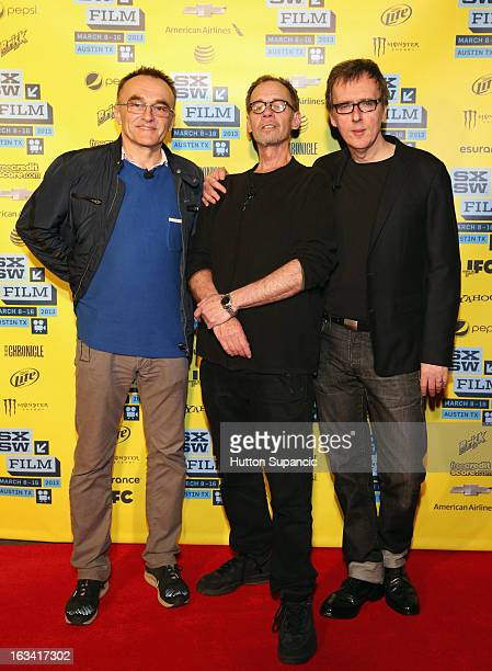 Filmmaker Danny Boyle journalist David Carr and composer Rick Smith pose in the greenroom at A Conversation With Danny Boyle during the 2013 SXSW...
