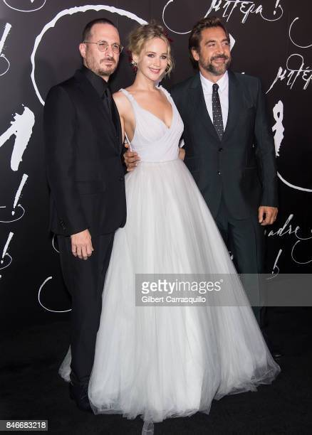 Filmmaker Darren Aronofsky actress Jennifer Lawrence and actor Javier Bardem attend 'mother' New York Premiere at Radio City Music Hall on September...