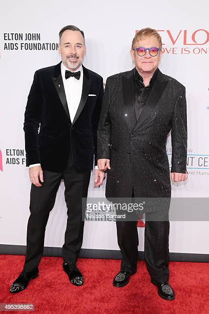 Filmmaker David Furnish and Sir Elton John attend Elton John AIDS Foundation's 14th Annual An Enduring Vision Benefit at Cipriani Wall Street on...