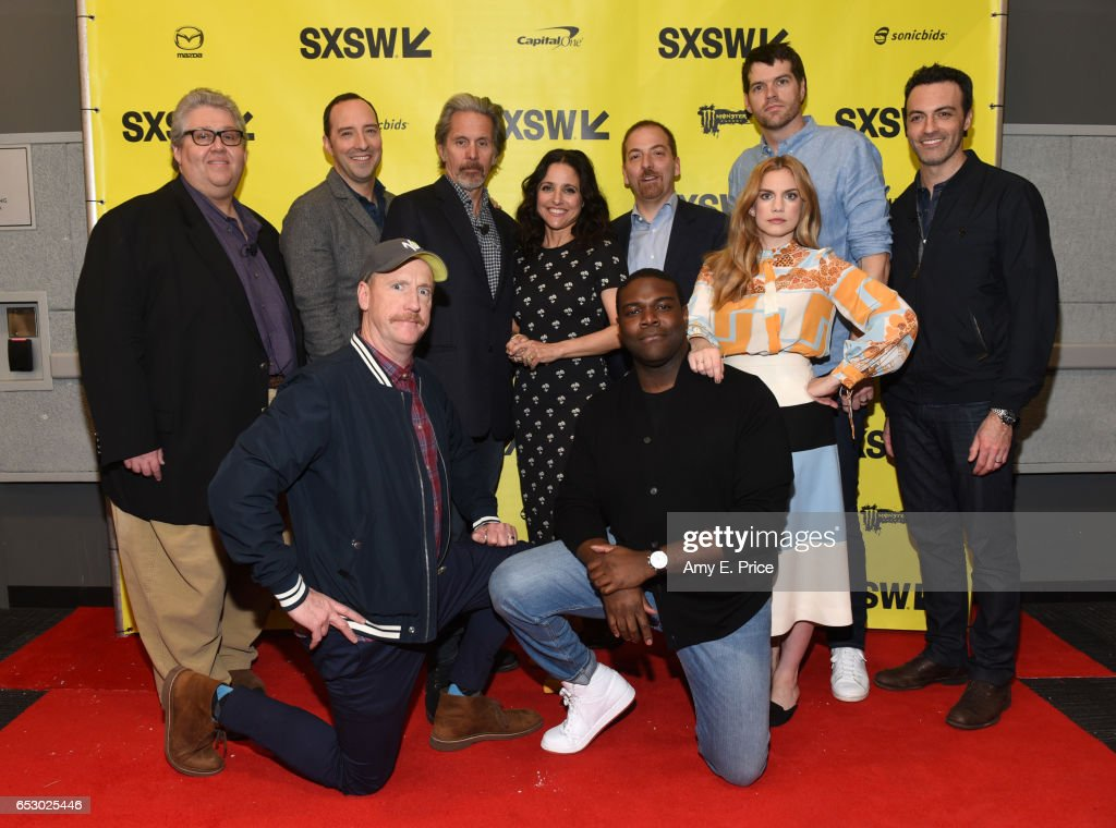 Filmmaker David Mandel, actors Tony Hale, Matt Walsh, Gary Cole, Julia Louis-Dreyfus, Sam Richardson, SXSW moderator Chuck Todd, actors Anna Chlumsky, Timothy Simons, and Reid Scott attend 'Featured Session: 'VEEP' Cast' during 2017 SXSW Conference and Festivals at Austin Convention Center on March 13, 2017 in Austin, Texas.