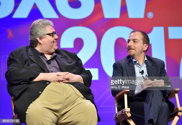 Filmmaker David Mandel and SXSW moderator Chuck Todd speak onstage at 'Featured Session 'VEEP' Cast' during 2017 SXSW Conference and Festivals at...