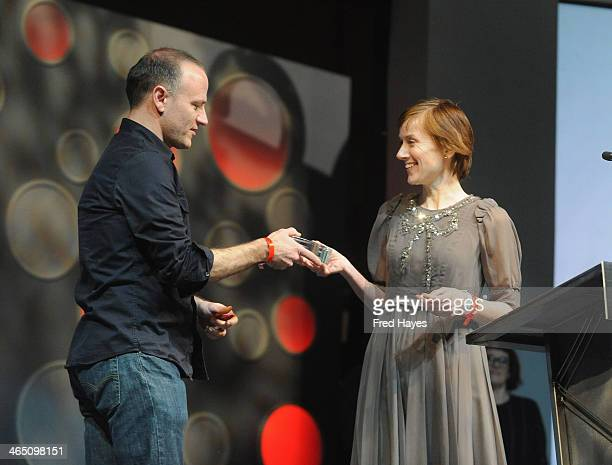 Filmmaker David Zellner accepts the U S Dramatic Special Jury Award for Musical Score on behalf of the band The Octopus Project for the film Kumiko...