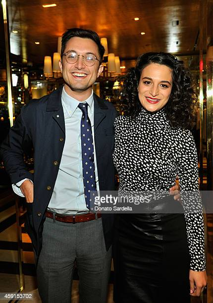 Filmmaker Dean FleischerCamp poses with wife actress Jenny Slate at the dinner hosted by Krista Smith for Jenny Slate at the Tory Burch Rodeo...