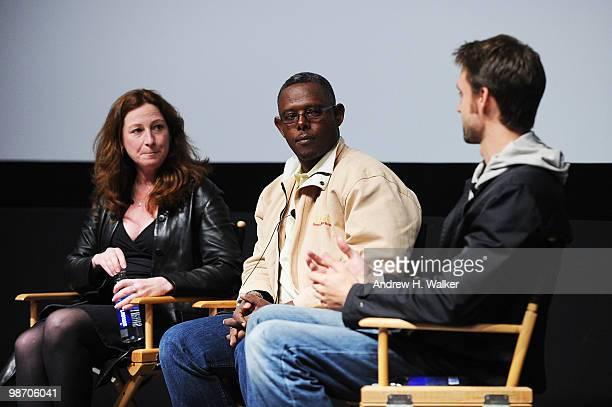 Filmmaker Deborah Scranton fixer Jean Pierre Sagahutu and filmmaker Reid Carolin speak at Tribeca Talks Earth Made Of Glass during the 2010 Tribeca...