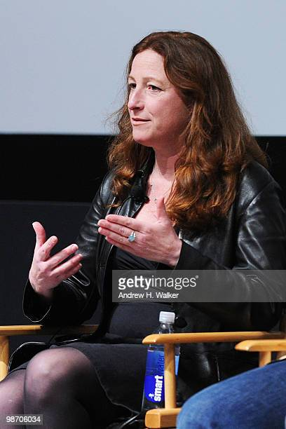 Filmmaker Deborah Scranton speaks at Tribeca Talks Earth Made Of Glass during the 2010 Tribeca Film Festival at the School of Visual Arts Theater on...