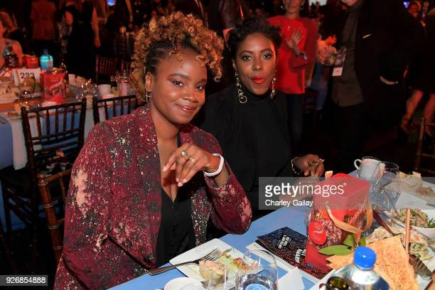 Filmmaker Dee Rees and Sarah Broom with Lindt Chocolate during the 2018 Film Independent Spirit Awards on March 3 2018 in Santa Monica California