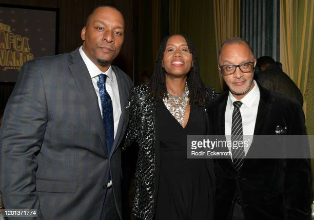 Filmmaker Deon Taylor executive vice president of TriStar Television Kathryn Busby and Vice President Creative Programming Diversity Inclusion at...