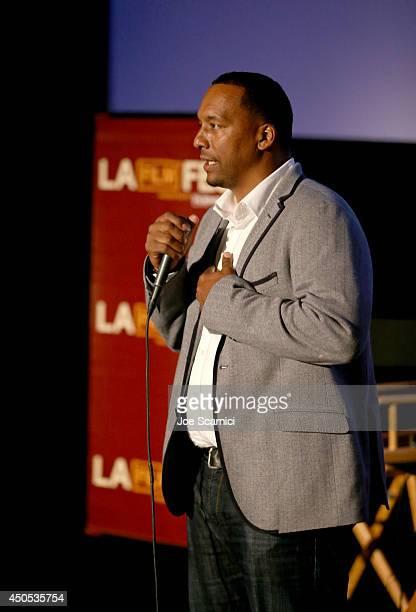 Filmmaker Deon Taylor speaks onstage during the Supremacy premiere during the 2014 Los Angeles Film Festival at Regal Cinemas LA Live on June 12 2014...