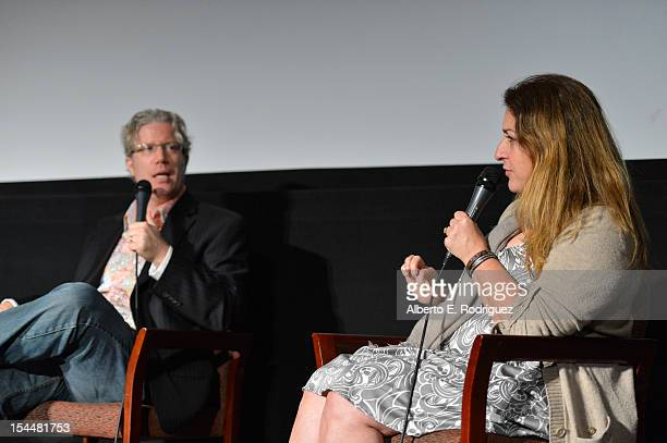Filmmaker Eddie Schmidt and Sundance Film Festival Senior Programmer Moderator Caroline Lebresco speak onstage during the Film Independent Film Forum...