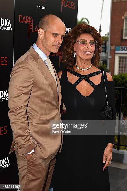 Filmmaker Edoardo Ponti and actress Sophia Loren attend the premiere of DIRECTV's Dark Places at Harmony Gold Theatre on July 21 2015 in Los Angeles...