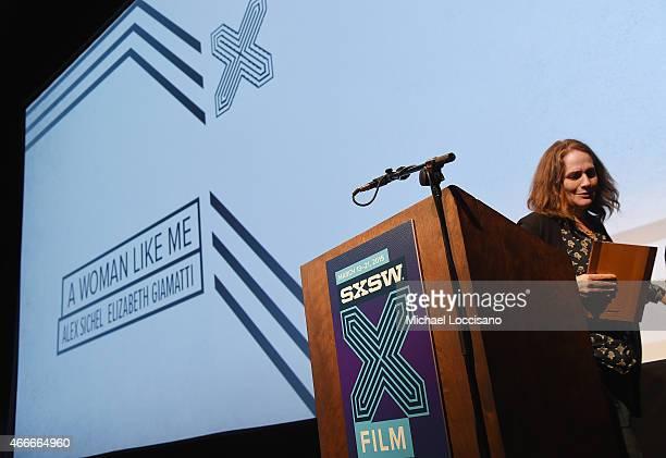 Filmmaker Elizabeth Giamatti accepts an award during the SXSW Film Awards during the 2015 SXSW Music Film Interactive Festival at Paramount Theatre...
