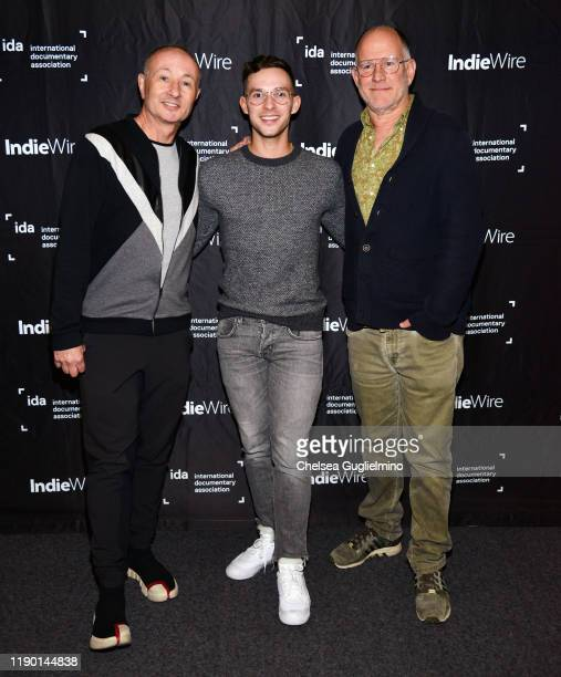 Filmmaker Fenton Bailey figure skater Adam Rippon and filmmaker Randy Barbato attend the Los Angeles special screening of Stonewall Outloud at The...