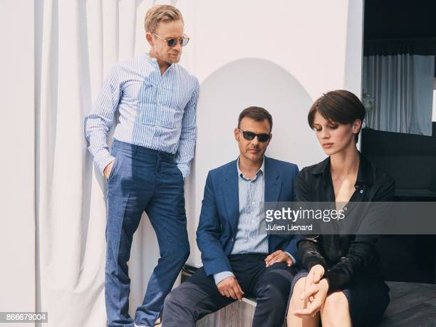 Filmmaker Francois Ozon and actors Jeremie Renier and Marine Vacth are photographed for Self Assignment on May 2017 in Cannes France