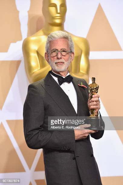 Filmmaker Frank Stiefel winner of the Best Documentary Short Subject award for 'Heaven Is a Traffic Jam on the 405' poses in the press room during...
