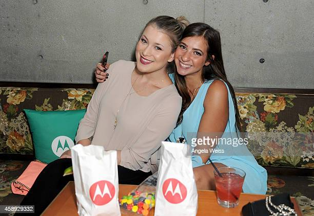 Filmmaker Gabbie Hanna and guest attend the Moto X Film Experience at Palihouse on November 13 2014 in West Hollywood California Actress Emmy Rossum...