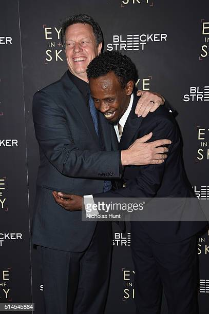 Filmmaker Gavin Hood and actor Barkhad Abdi attend the 'Eye In The Sky' New York Premiere at AMC Loews Lincoln Square 13 theater on March 9 2016 in...