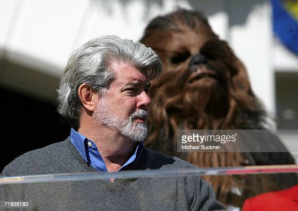 Filmmaker George Lucas and his 'Star Wars' character Chewbacca attend the unveiling of the Grand Marshal for the 2007 Tournament of Roses Parade at...