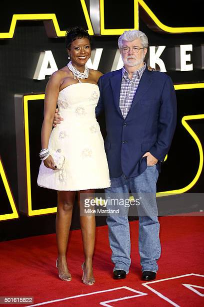 """Filmmaker George Lucas and his wife Mellody Hobson attend the European Premiere of """"Star Wars: The Force Awakens"""" at Leicester Square on December 16,..."""