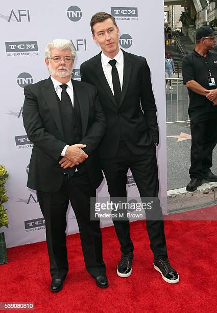 Filmmaker George Lucas and Jett Lucas arrive at the American Film Institute's 44th Life Achievement Award Gala Tribute to John Williams at Dolby...