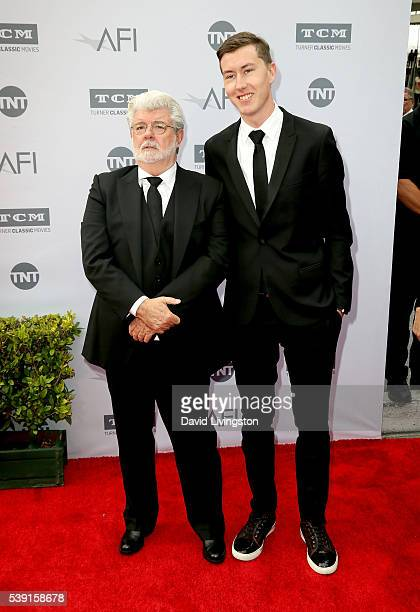 Filmmaker George Lucas and Jett Lucas attend American Film Institute's 44th Life Achievement Award Gala Tribute to John Williams at Dolby Theatre on...